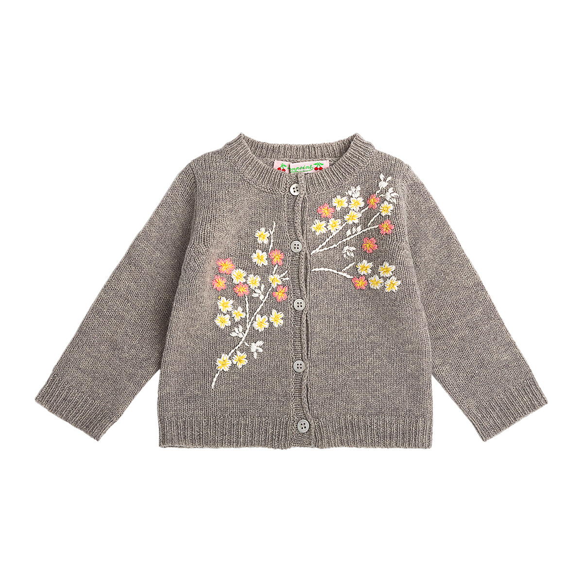 Bonpoint Boderie Cardigan in Gris Chine