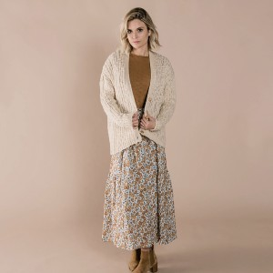 Rylee + Cru Women's Birdy Cardigan in Wheat on woman