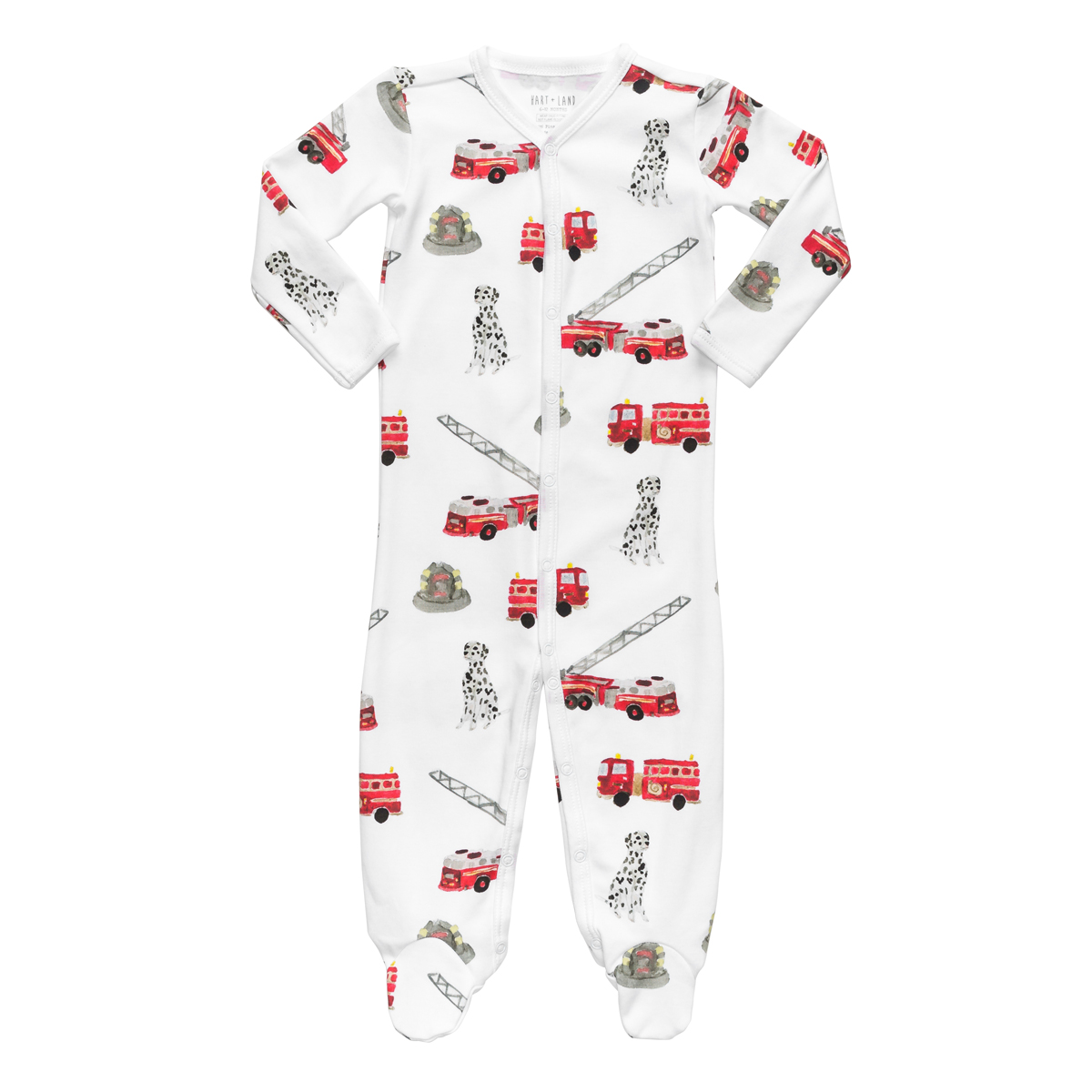 Hart + Land Footed Bodysuit PJ in Fire Trucks Print