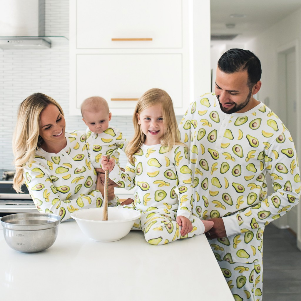 Hart + Land PJ Set in Avocado Print on girl