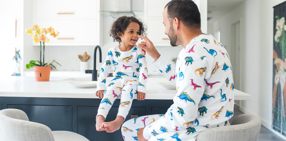 dad and daughter in matching pjs