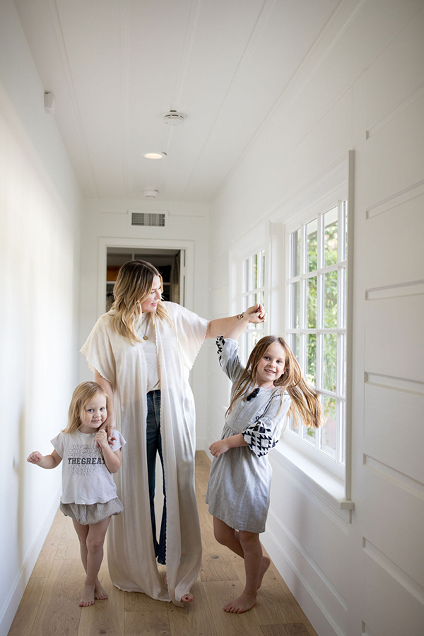 Emily Current with her two daughters