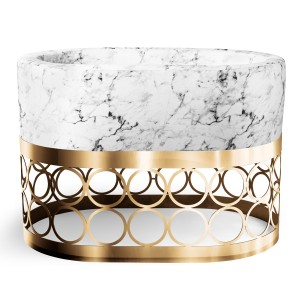 Aristot Bassinet in Carrara Marble with Rondo Base in Gold