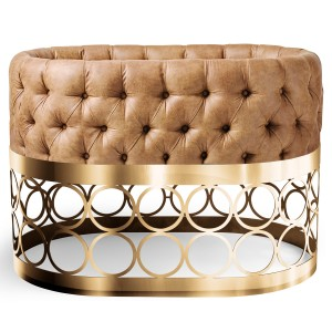 Aristot Bassinet in Eco-Leather Cognac with Rondo Base in Gold