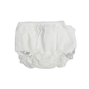 Lullaby Set Eyelet Trim Diaper Cover in White