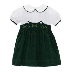 Lullaby Set Corduroy Short Sleeve Dress in Green & White