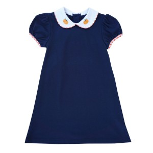 Lullaby Set Short Sleeve Knit Dress in Navy with Pumpkin Embroidery on Collar