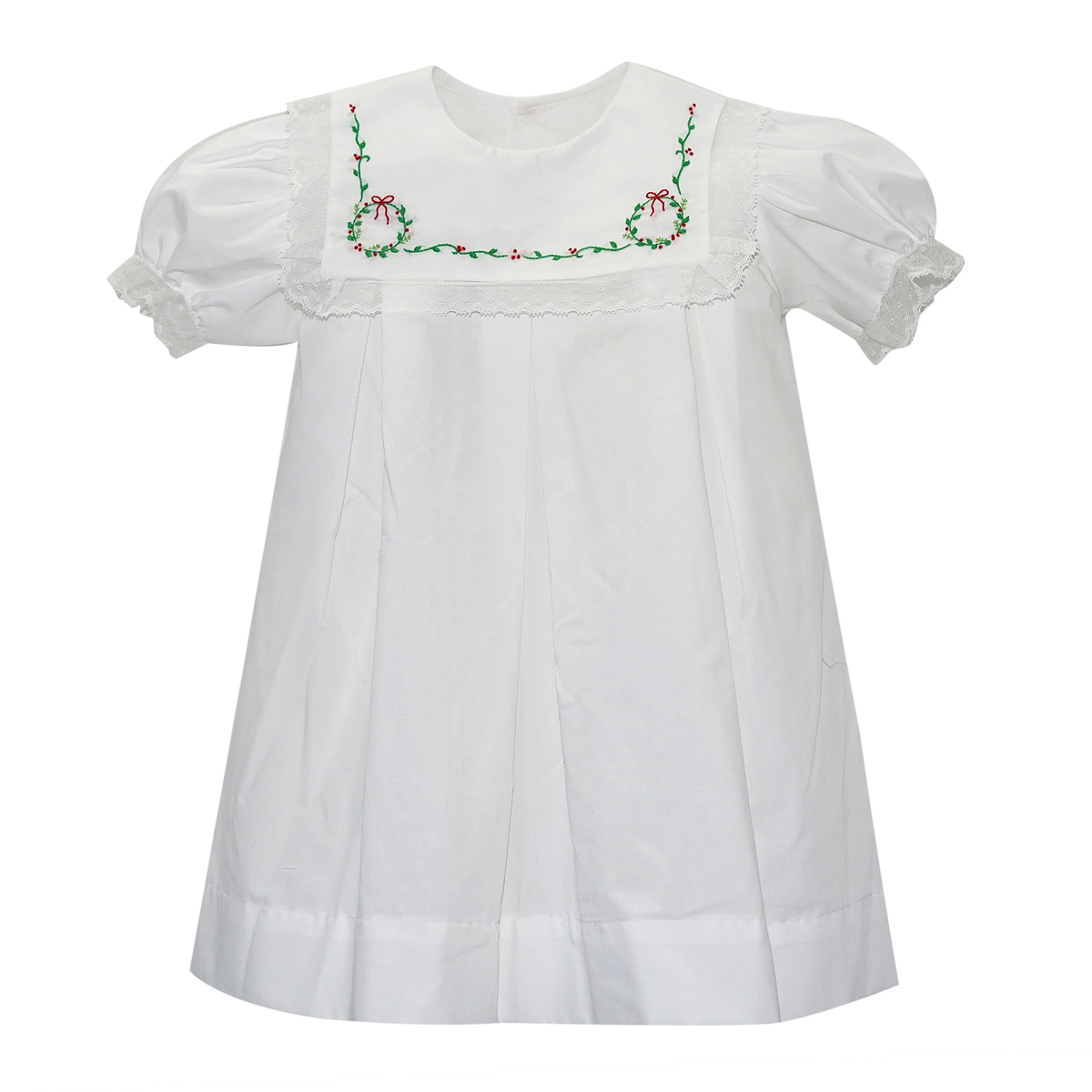 Lullaby Set Short Sleeve Dress in White with Wreath Embroidery on collar