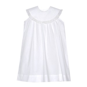 Lullaby Set Sleeveless Yoke Collar Dress in White