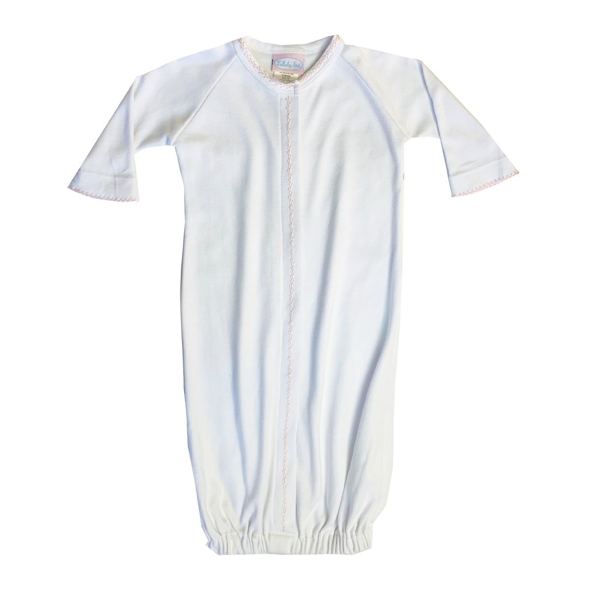Lullaby Set Long Sleeve Saque in white with Pink Feather Stitching