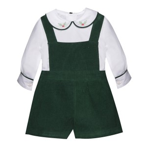 Lullaby Set Green Corduroy Apron Short with White Shirt Set