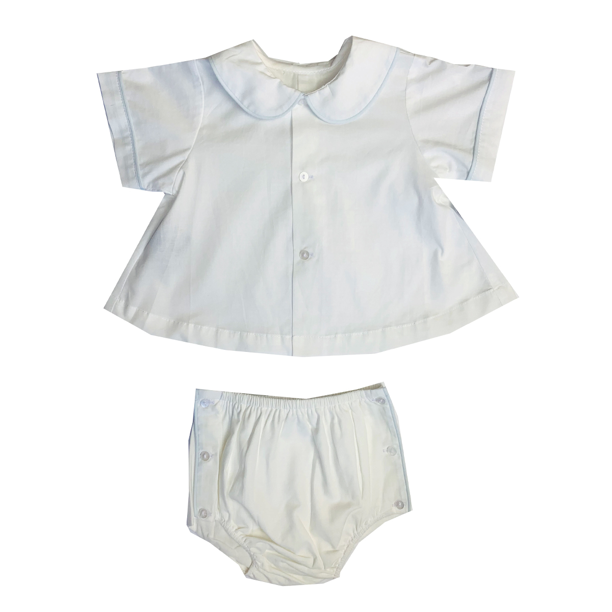 Lullaby Set Top & Diaper Cover set in White with Blue Piping