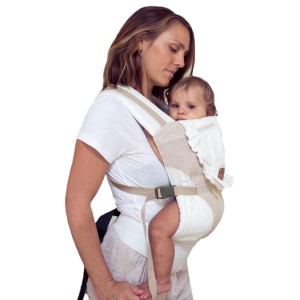 Zarpar Bebe Snap Carrier in Sand on woman