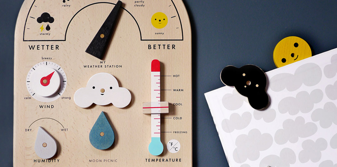 wooden weather station for kids