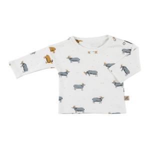 Red Caribou Long Sleeve T-Shirt in Eco White Golden Blue Goat Print