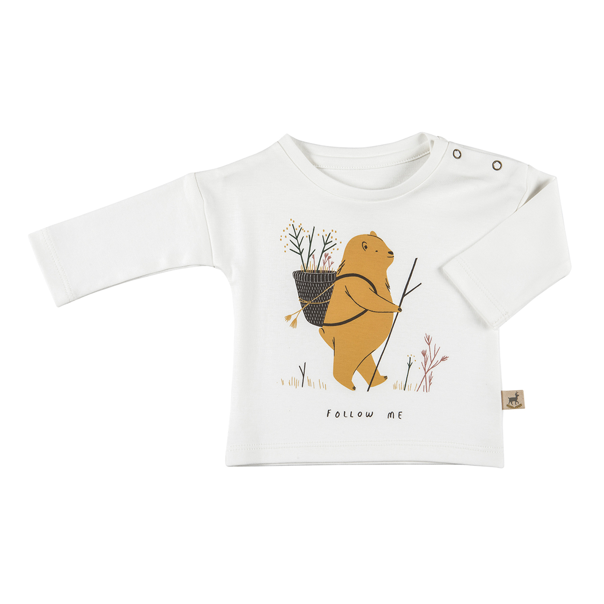 Red Caribou Long Sleeve T-Shirt in Eco White Follow Me Print