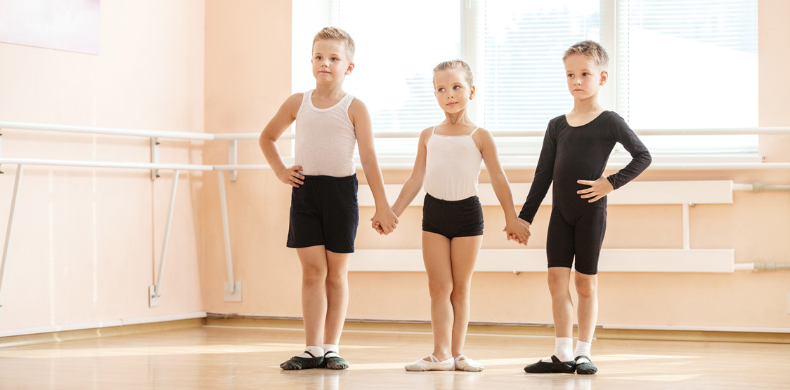two boys and a girl ballet dancing