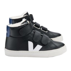 Veja Small Esplar Mid Fured Black White and Cobalt Shoe