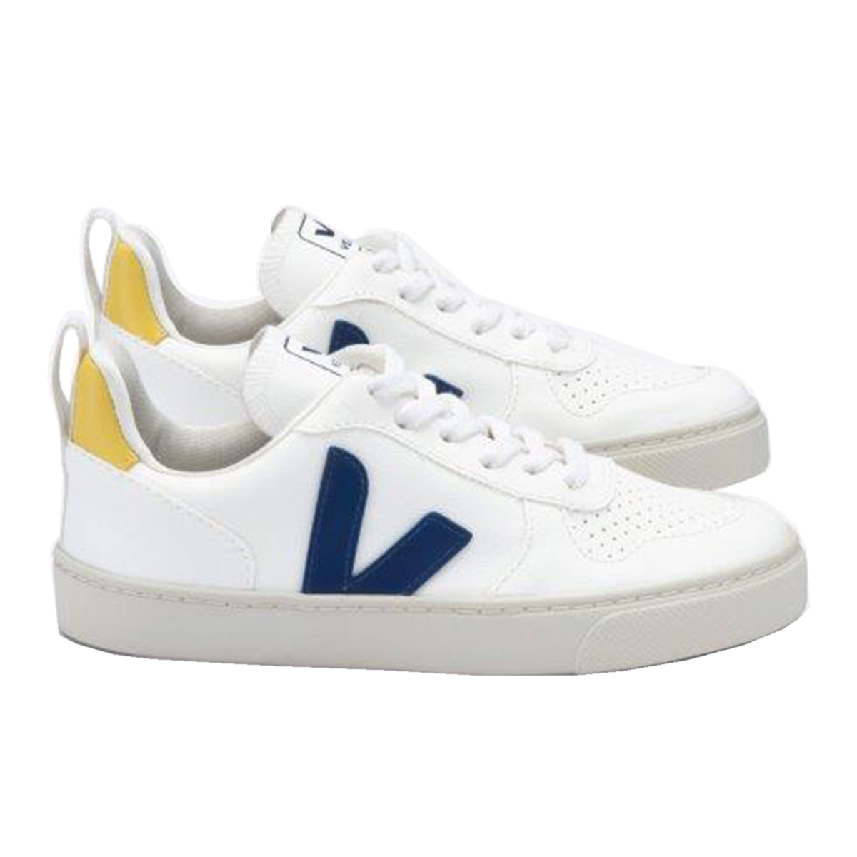 Veja Small V10 Lace in White Cobalt and Yellow