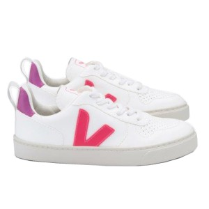 Veja Small V 10 Lace in White Rose Fluorescent
