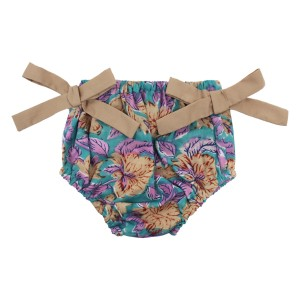 Thelma & Leah Knotty Bloomer in Turquoise & Purple Floral Print with Tan Ties