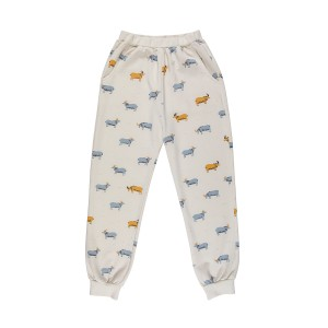 Red Caribou Jogger Pant in Whisper White Golden Blue Goat Print