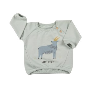 Red Caribou Sweatshirt in Sky Grey Mr Blue Print