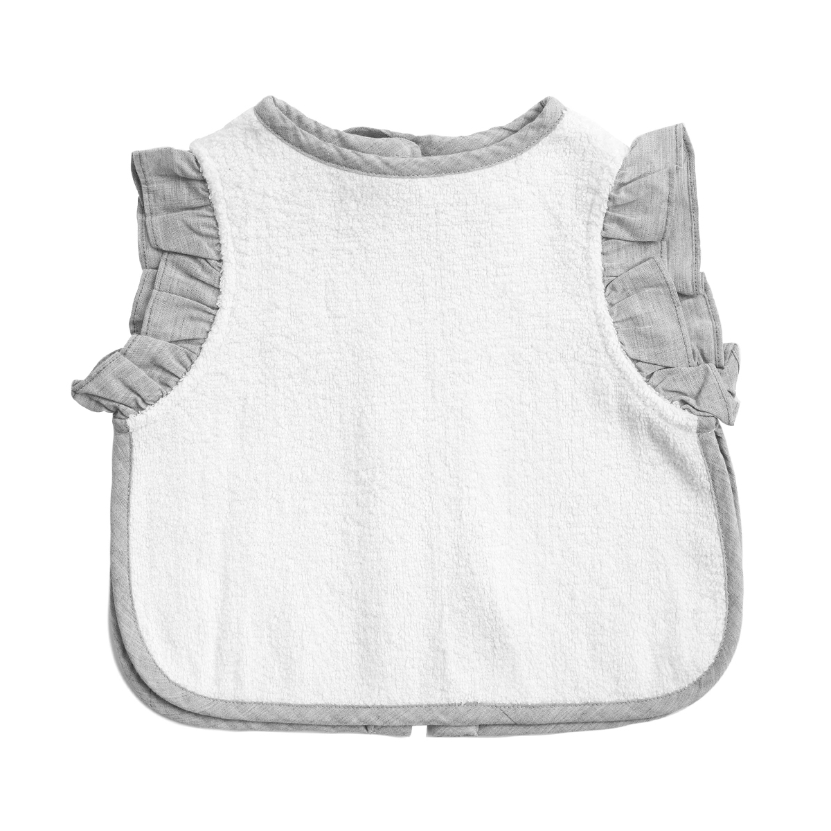 Louelle Cotton Apron Bib in Husk Grey Ruffle & White