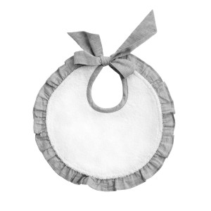 Louelle Cotton Circle Bib in Husk Grey Ruffle & White