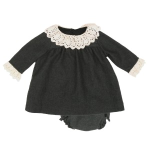 Poeme & Poesie Dress & Bloomer Set with Lace Detail in Dark Grey