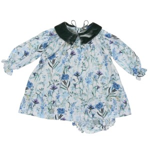 Poeme & Poesie Dress & Bloomer Set in Blue Floral