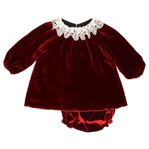 Poeme & Poesie Dress & Bloomer Set with Lace Collar in Red Velvet
