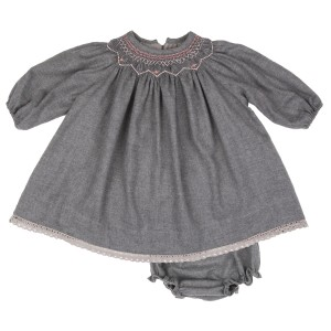 Poeme & Poesie Long Sleeve Smockneck dress & bloomer set in light grey