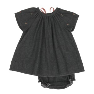 Poeme & Poesie Short Sleeve Dress & bloomer set in Dark Grey with flower embroidery