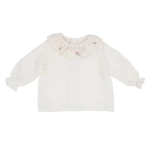 Poeme & Poesie Long Sleeve White Blouse with flower embroidery on collar