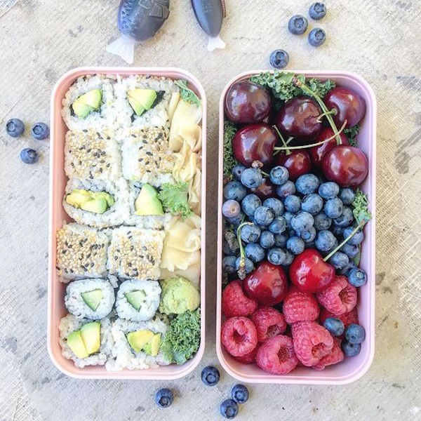 Kids lunch with sushi and fruit