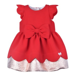 Hucklebones Crepe Metallic Dress & Bloomer Set in Crimson & Rose Gold