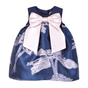 Hucklebones Nouveau Jacquard Trapeze Dress & Bloomer Set in Midnight Frost Navy Print