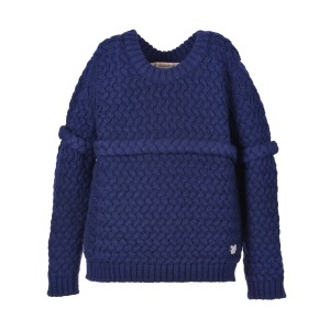 Hucklebones Chunky Merino Wool Sweater in Navy