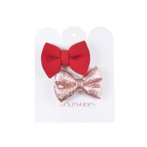Hucklebones Small Bow Hair Clip set in cherry & Rose gold