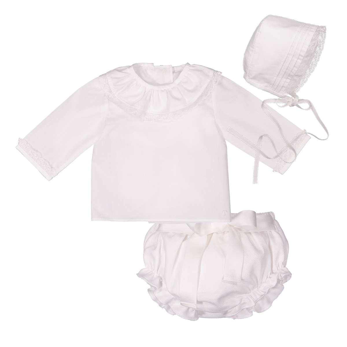 Tierno Baby Set with Bonnet, Bloomers, and Blouse in purity white