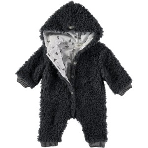 Buho Teddy Hooded Jumpsuit in Dark Grey