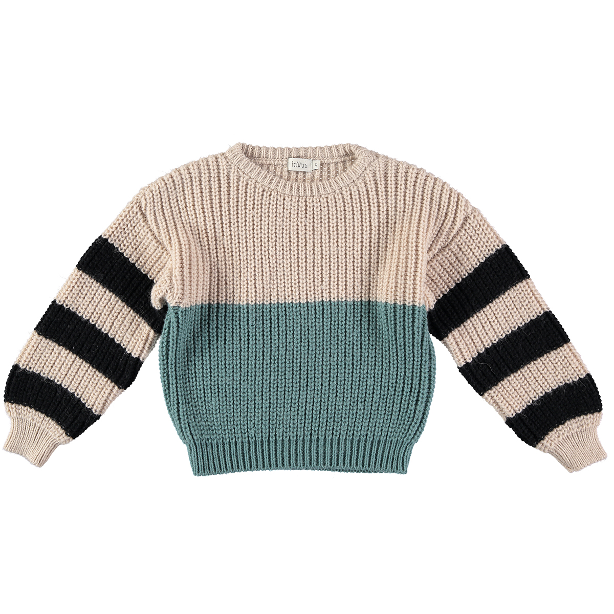 Buho Carlo Sweater in Striped Green Forest