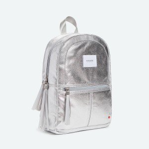 State Bags Mini Kane Backpack in Metallic Silver