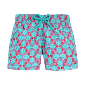 Vilebrequin Boy's Swim Trunk In Aqua & Pink Data Turtles Print