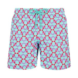 Vilebrequin Men's Swim Trunk In Aqua & Pink Data Turtles Print