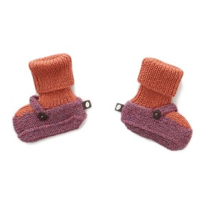 Oeuf Mary Jane Booties in Mauve & Apricot