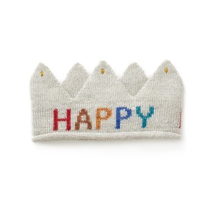 Oeuf Embroidered Crown in Grey Happy Birthday