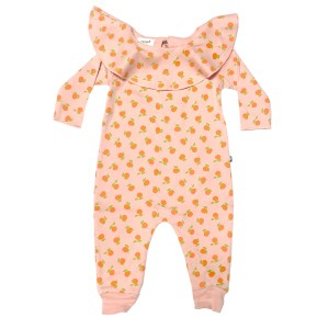 Oeuf Ruffle Collar Jumpsuit in Pink Clementine