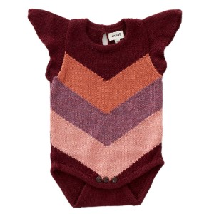 Oeuf Chevron Onesie in Burgundy